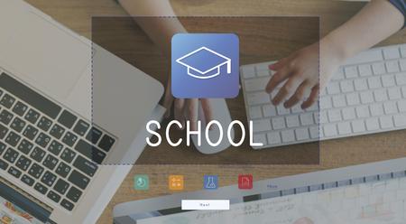 Illustratie van geletterdheid academici onderwijs mortel bord Stockfoto