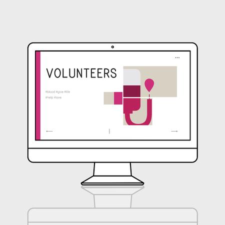 컴퓨터에서 헌혈 캠페인의 그림 스톡 콘텐츠 - 78403546