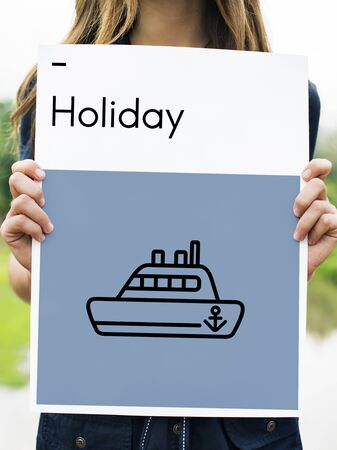 Route Holiday Discover Journey Boat Sign Stok Fotoğraf - 78403366