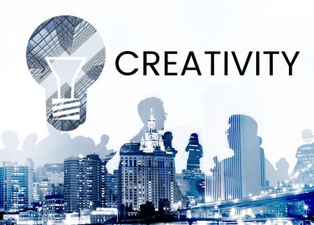People with graphic of creative ideas digital technology light bulb Reklamní fotografie