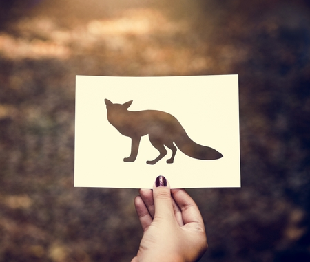 Human hand holding wild life fox perforated paper craft in nature