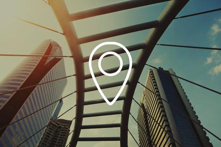 Afstandsmarkering GPS Wereldwijd positioneringssysteem Stockfoto
