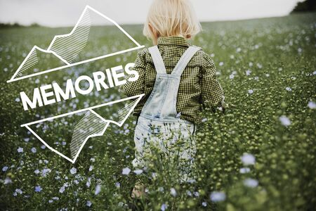 dungarees: Memories word on young boy outdoors