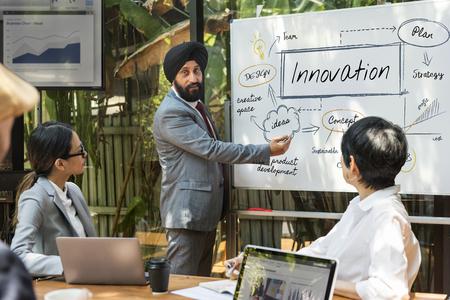 Man presenting innovation concept