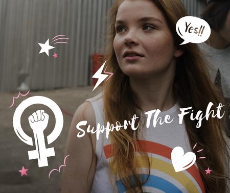 戦いジェンダー フェミニズム グラフィックをサポートします。 写真素材