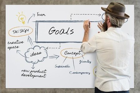 Man with goals concept