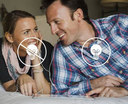 Light Bulb Ideas Choose Button Icon Stamp Stock Photo