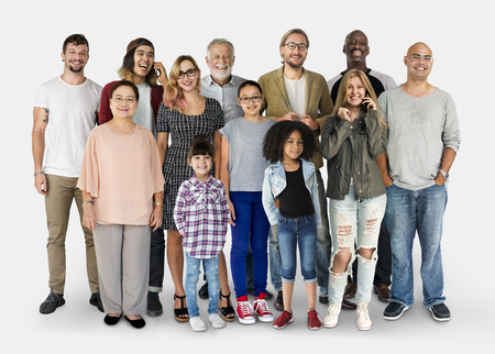 Vielfalt der Menschen Generationen Set zusammen Studio isoliert Standard-Bild - 78406236