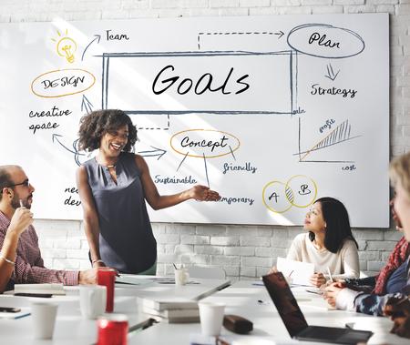 Woman presenting goals concept Stockfoto