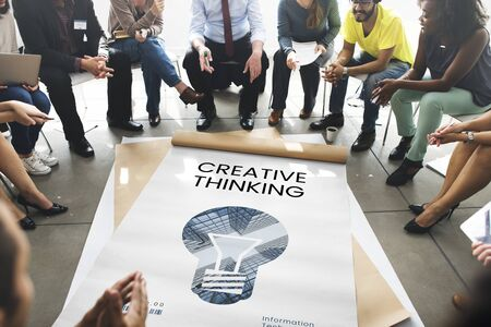 People with graphic of creative ideas digital technology light bulb Stock Photo