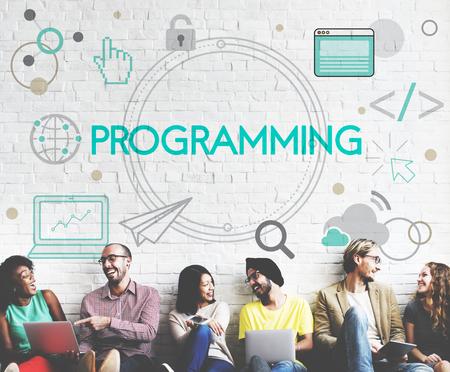 情報技術接続プログラミングをコーディング 写真素材