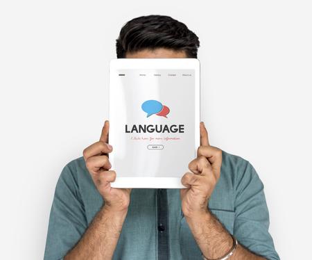 Graphic of language translation of web page Banco de Imagens - 78468912
