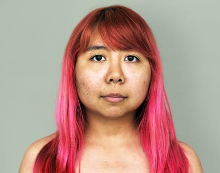 Jeune, Asiatique, girl, nu, poitrine, nu, studio, portrait