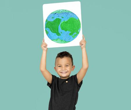 Little Boy Holding Global Paper Board Studio Portrait Reklamní fotografie