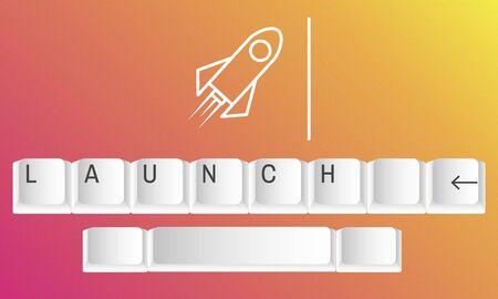 Business Rocket Keyboard Launch Icon Word