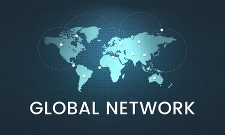 Tecnología de comunicación de red global gráfico Foto de archivo - 78475004