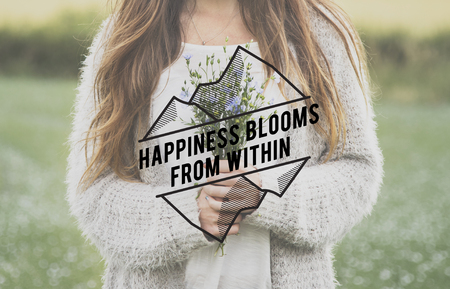Happiness Blooms From Within Phrase Words Flower