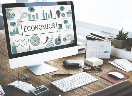 Illustratie van financiële bedrijfsgrafiekinvestering op computer