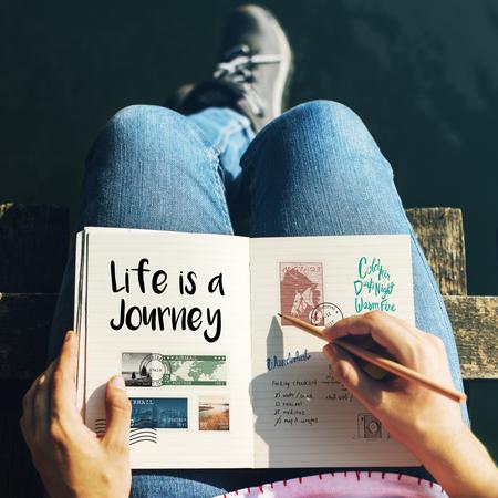 Scopri Esplora il viaggio viaggio concetto