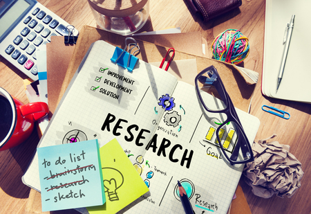 information medium: Research report results sketch illustration