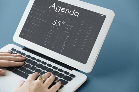 weather report: Graphic of personal organizer appointment schedule on laptop