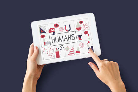 using tablet: Illustration of biochemistry study scietific research on digital tablet