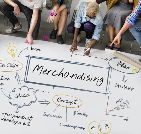 People with merchandising concept