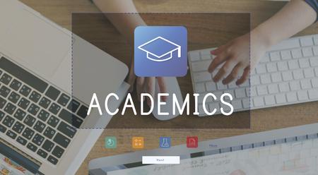 Illustration of literacy academics education mortar board Stok Fotoğraf