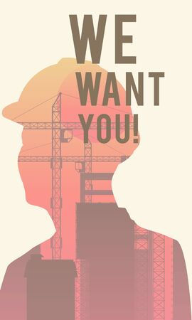 Digital illustration poster with quote We Want You! Stock Photo