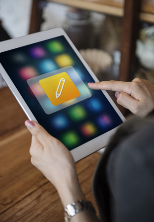 mobile apps: Pencil Write Application Vector Graphic Stock Photo