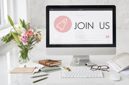 Join Us New Business Launch Plan Concept Imagens