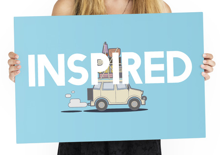 trotting: Woman holding illustration of discovery journey road trip traveling banner