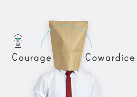 Antonym Opposite Courage Cowardice Impossible Possible Stock Photo