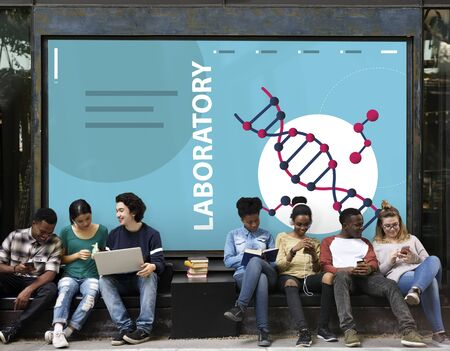 medical laboratory: Group of students dna strand graphic on the wall