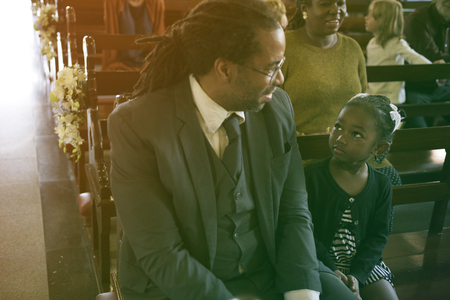 Father Daughter Sitting Church Believe Religion Imagens - 78513911
