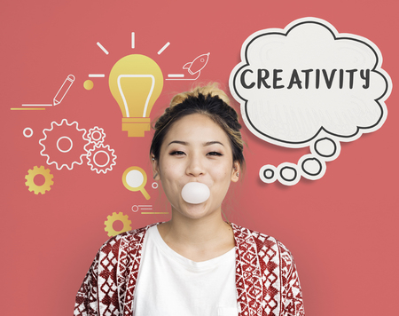 brightness: Imagining creative inspiration thought bubble Stock Photo