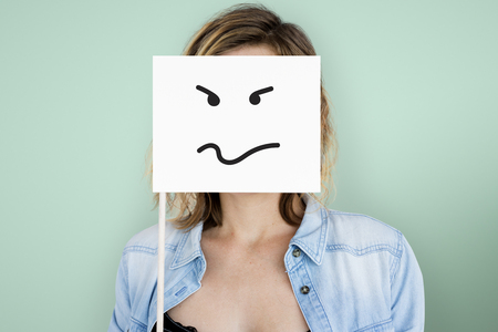 covering eyes: Drawing Facial Expressions Emotions Feelings Stock Photo