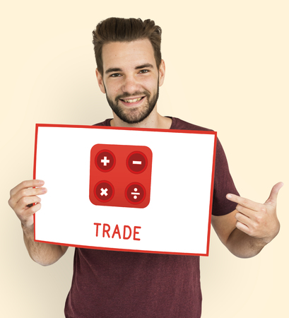 Man holding banner financial trading investment calculating illustration
