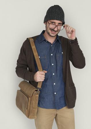 Casual Caucasian Man Smiling Stock Photo