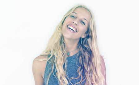 Caucasian Woman Happiness Face Expression Studio Portrait
