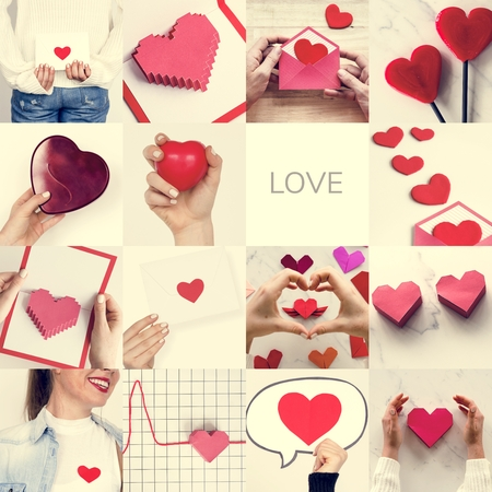 Adult Woman with Love Heart Artwork Studio Collage Stock Photo
