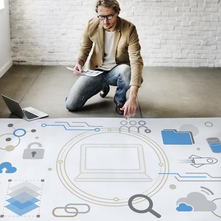 컴퓨터 시스템 네트워크 아이콘 통합 스톡 콘텐츠