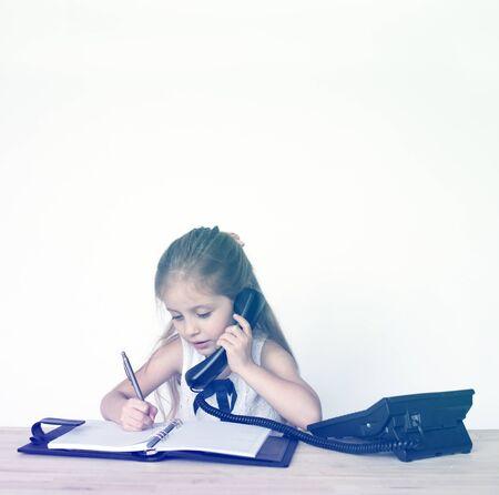 Girl Busy Working Secretary Talking Phone Stock Photo