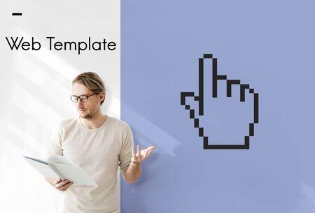 Web design programming hand cursor icon Stock Photo