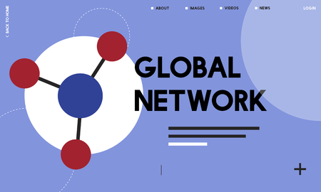 Global network connected with social network online community illustration Фото со стока