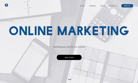 Website with online marketing concept Stock Photo