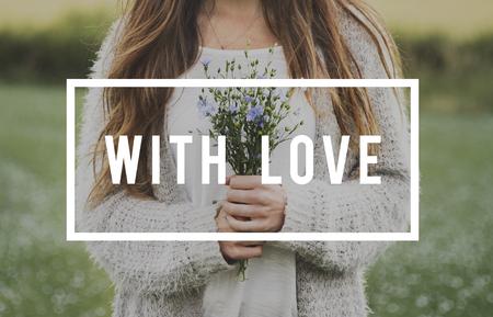 With Love Flower Bloom Blossom Phrase Words Banco de Imagens
