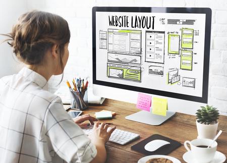 Website development layout sketch drawing Stock Photo