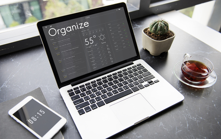 Graphic of personal organizer appointment schedule on laptop