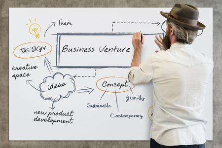 Man brainstorming on business venture